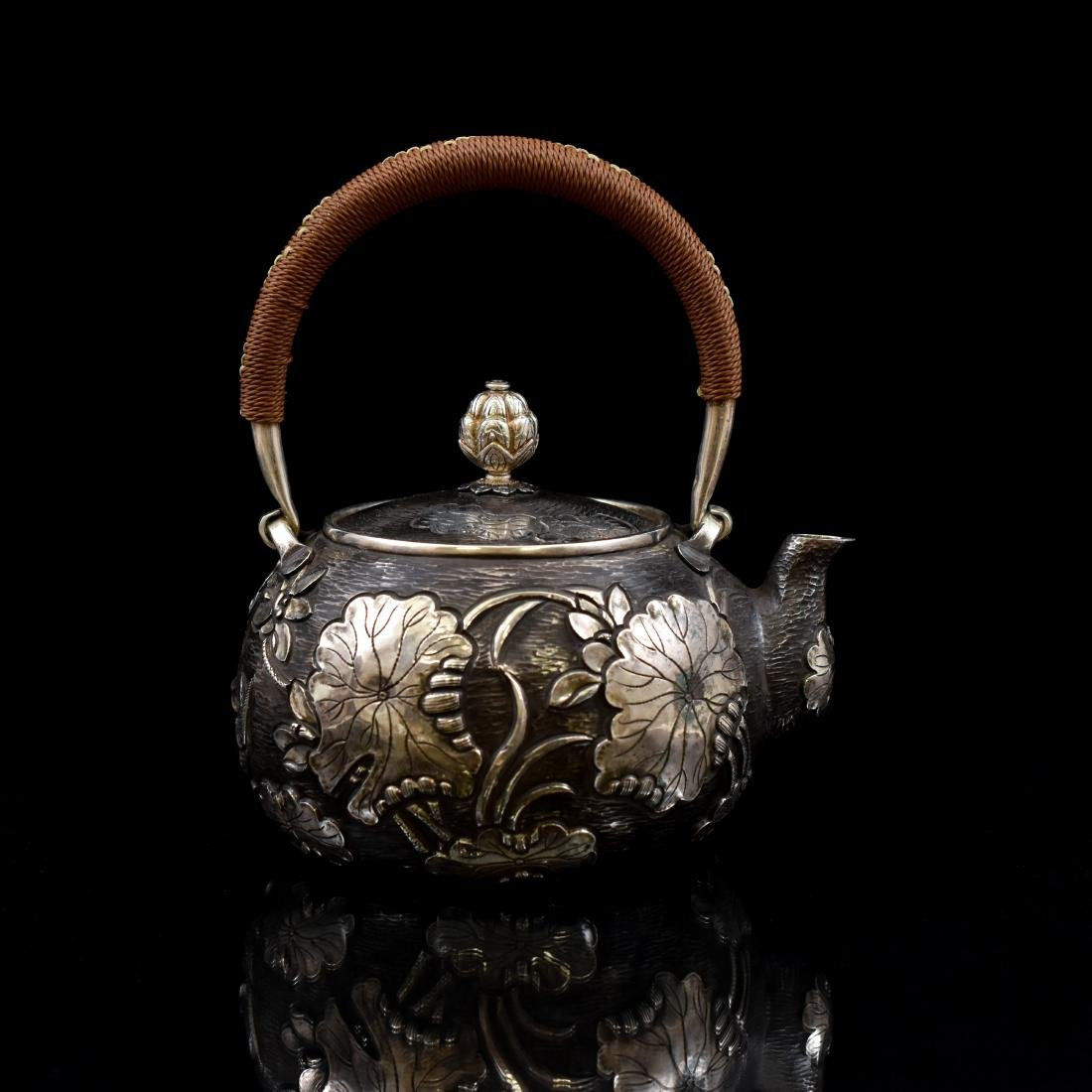JAPANESE SILVER TEA POT WITH FISH & LOTUS MOTIF - 3