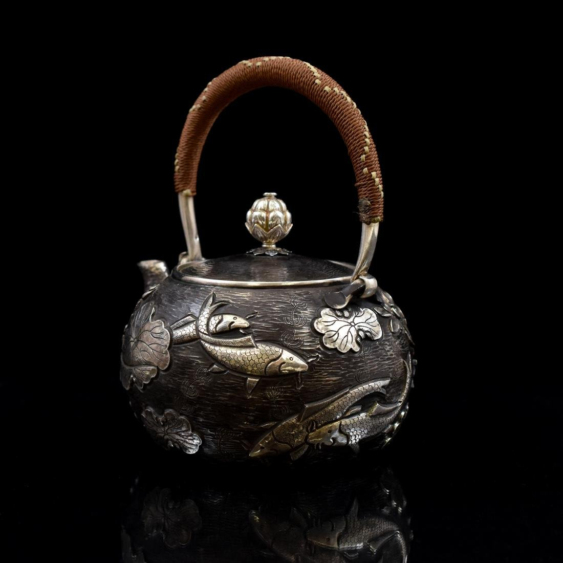 JAPANESE SILVER TEA POT WITH FISH & LOTUS MOTIF - 5