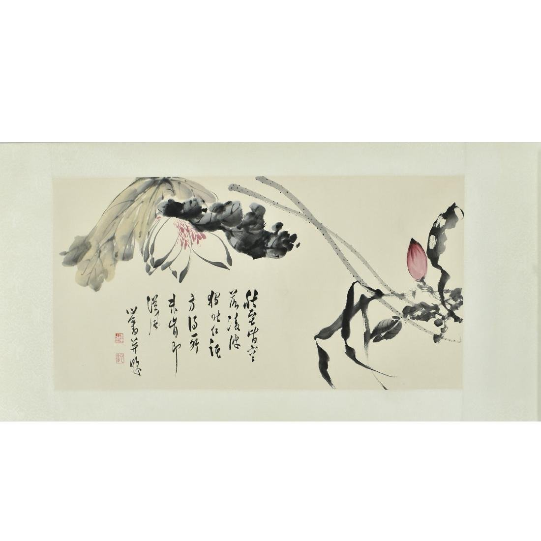 CHINESE PAINTING SCROLL OF FLORAL