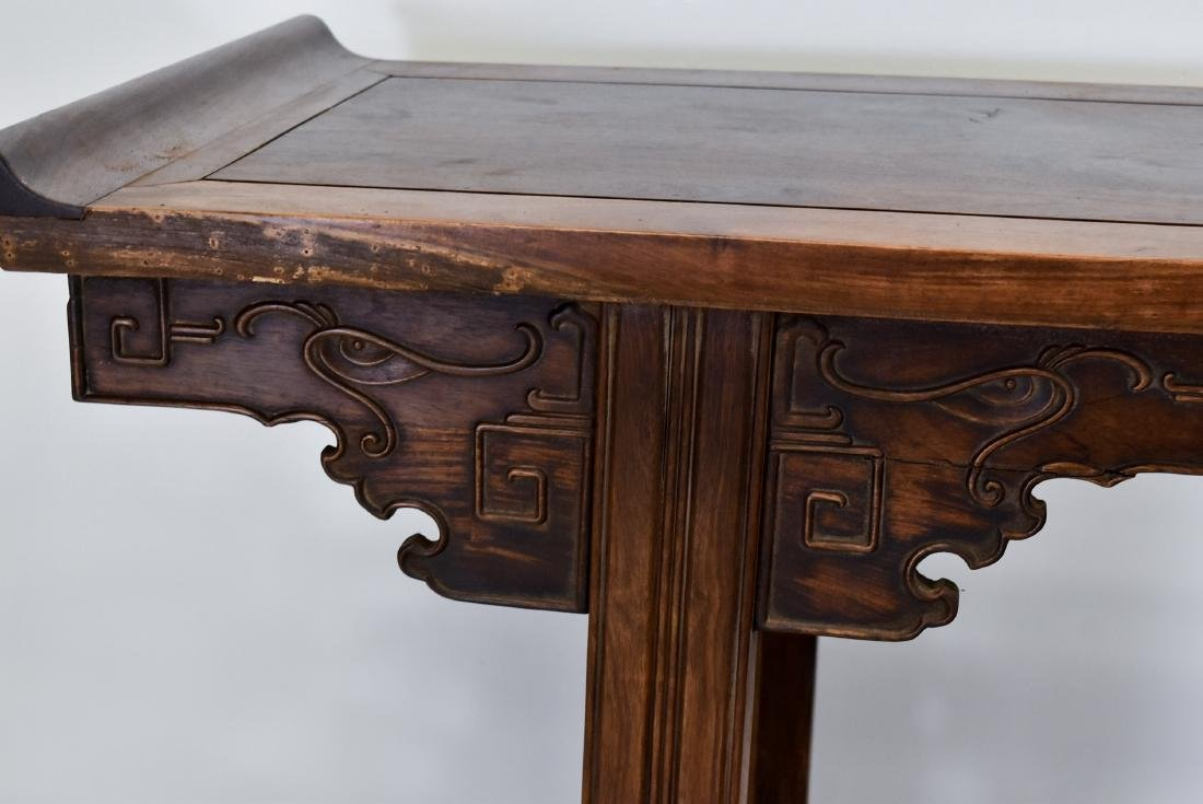 19TH C QING HUANGHUALI EVERTED ENDS ALTAR TABLE - 10