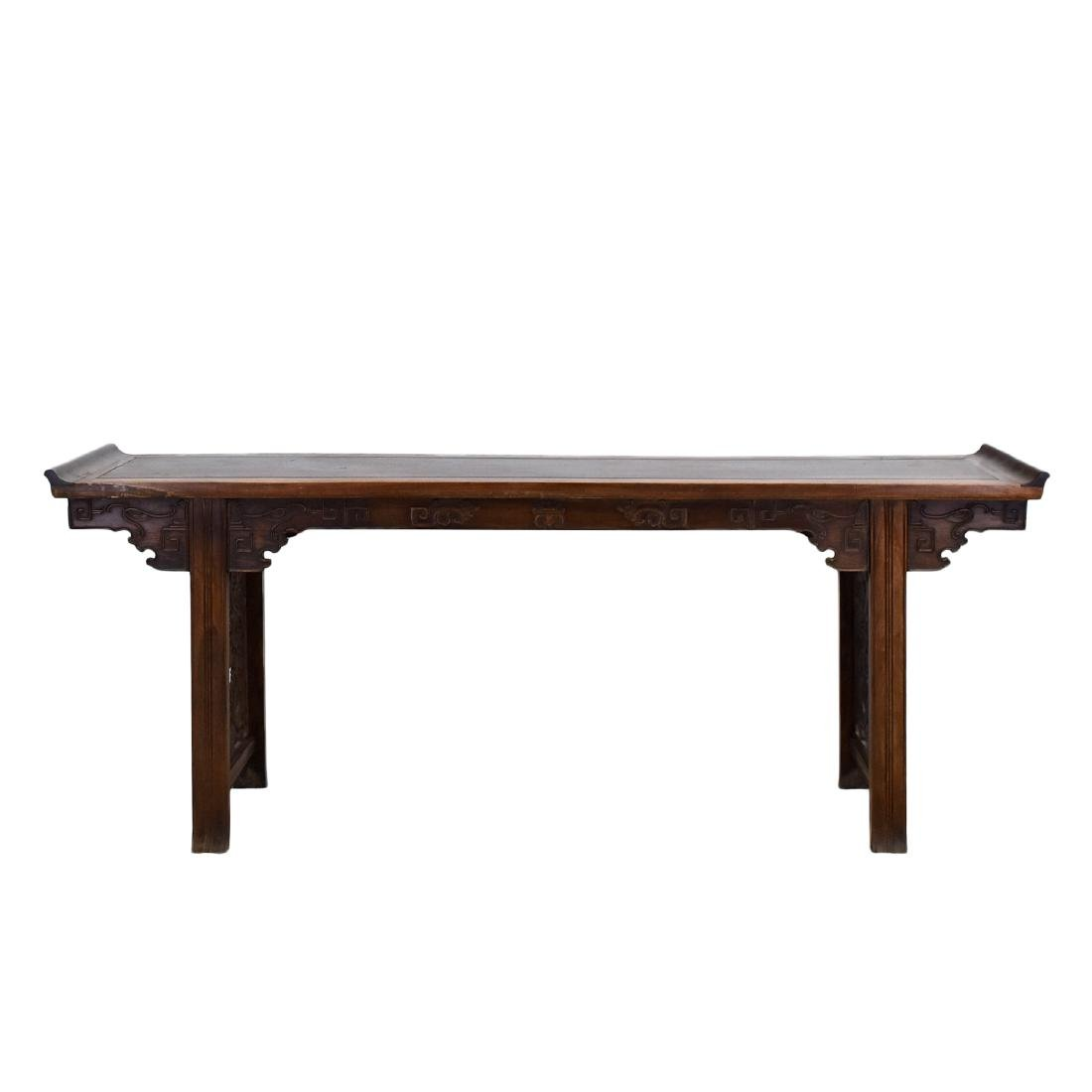 19TH C QING HUANGHUALI EVERTED ENDS ALTAR TABLE