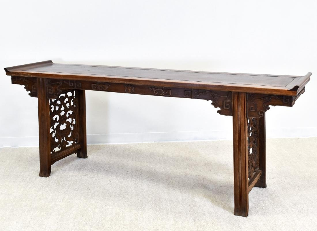 19TH C QING HUANGHUALI EVERTED ENDS ALTAR TABLE - 2