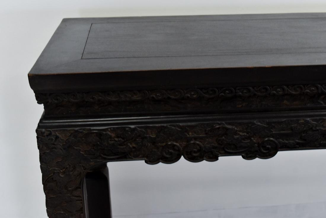18/19TH C CHINESE ZITAN PAINTING TABLE WITH CABRIOLLE - 2