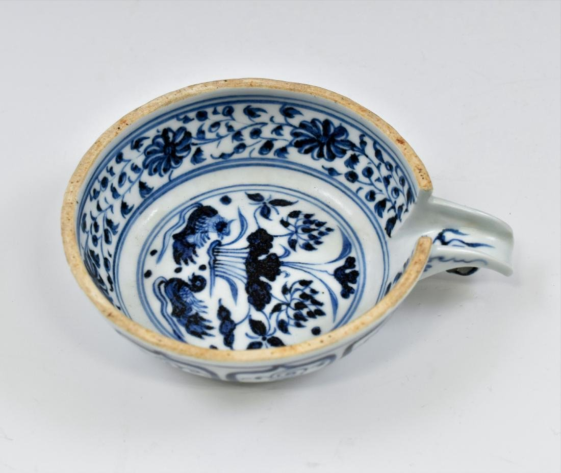 15 TH C YUAN DYNASTY BLUE & WHITE PORCELAIN WATER