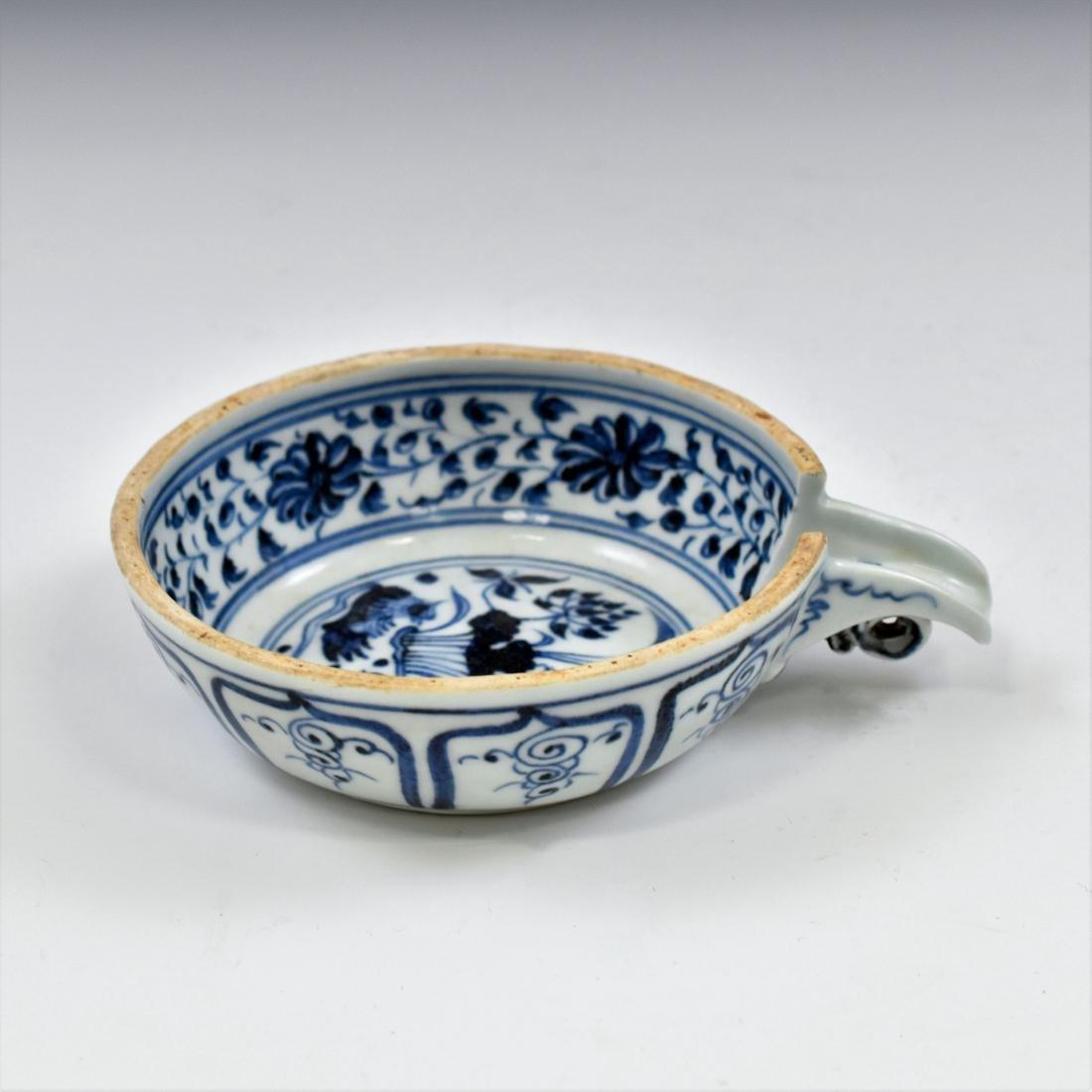 15 TH C YUAN DYNASTY BLUE & WHITE PORCELAIN WATER - 2