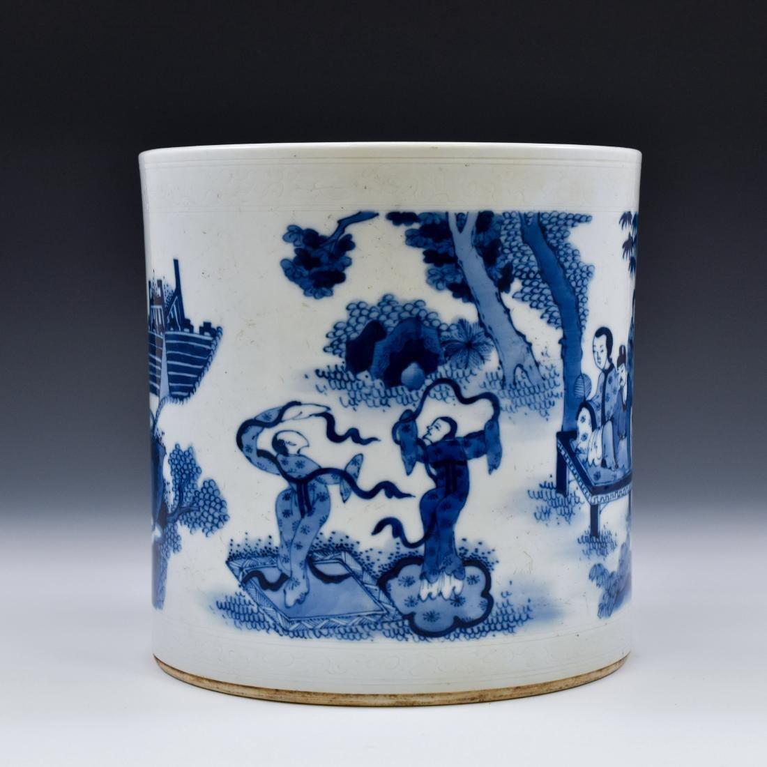 MING BLUE & WHITE PORCELAIN BRUSH POT - 2