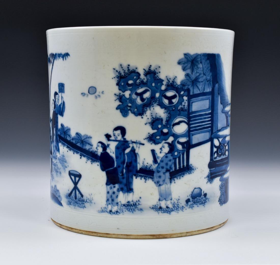 MING BLUE & WHITE PORCELAIN BRUSH POT - 4