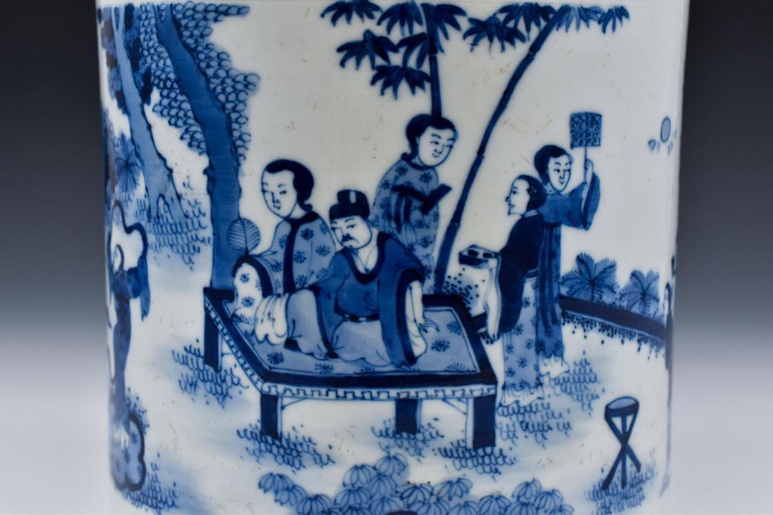 MING BLUE & WHITE PORCELAIN BRUSH POT - 7