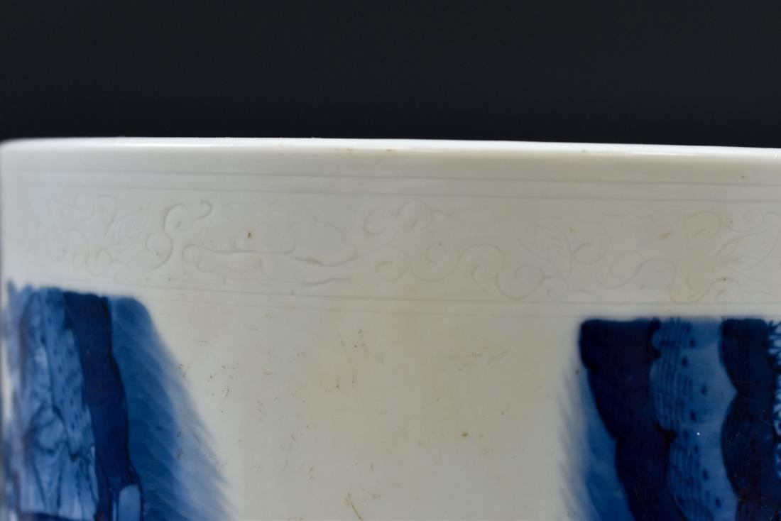 MING BLUE & WHITE PORCELAIN BRUSH POT - 8