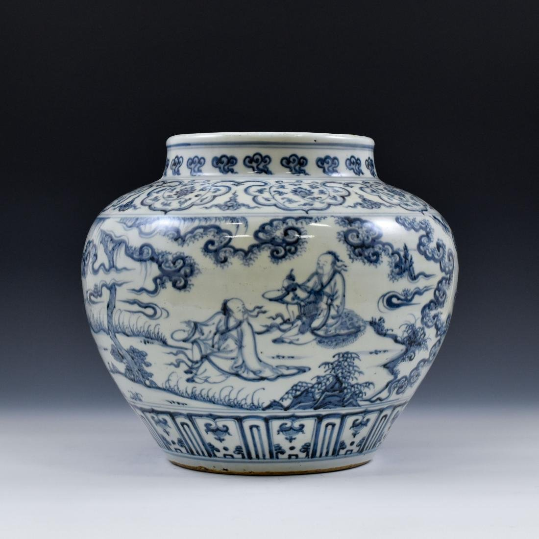 CHINESE MING BLUE AND WHITE JAR