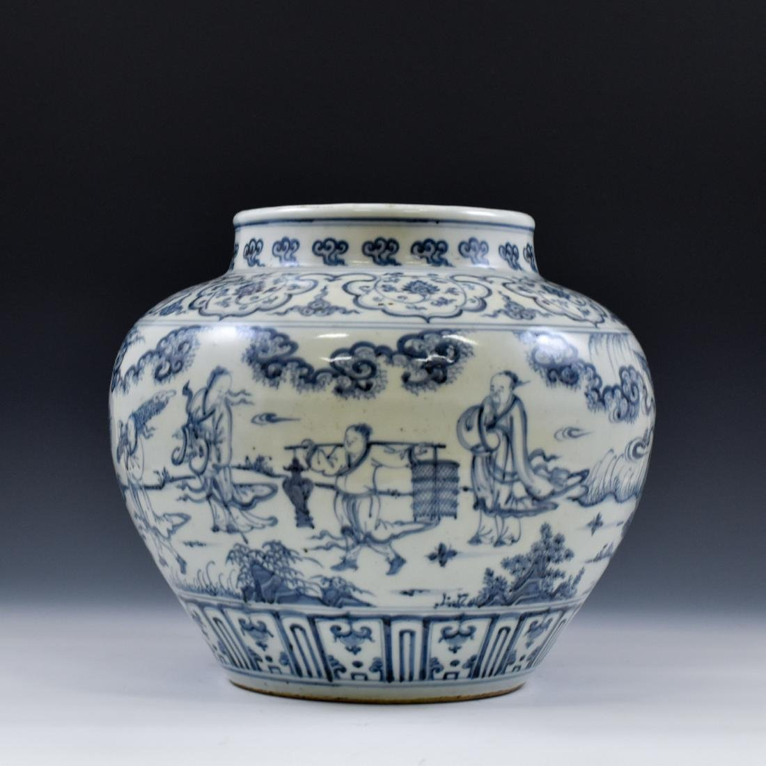 CHINESE MING BLUE AND WHITE JAR - 3