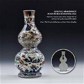 16/17TH C MING DYNASTY WUCAI DOUBLE GOURD WALL VASE