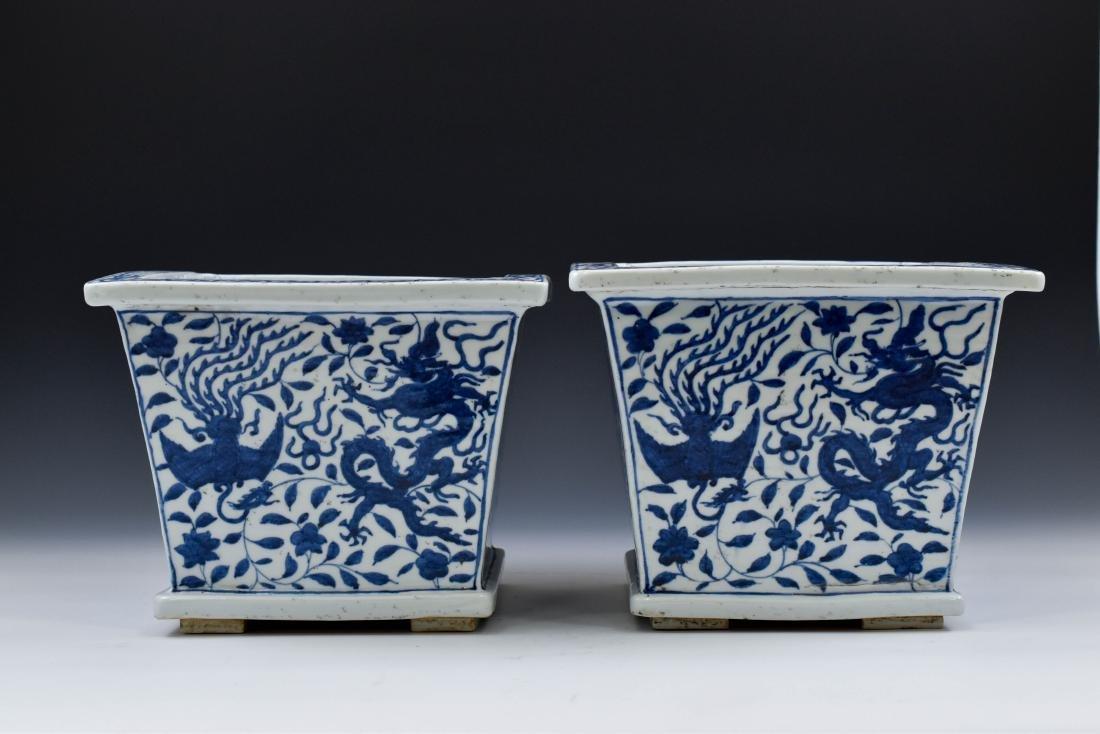 PAIR OF MING BLUE & WHITE DRAGON PHOENIX SQUARE PLANT