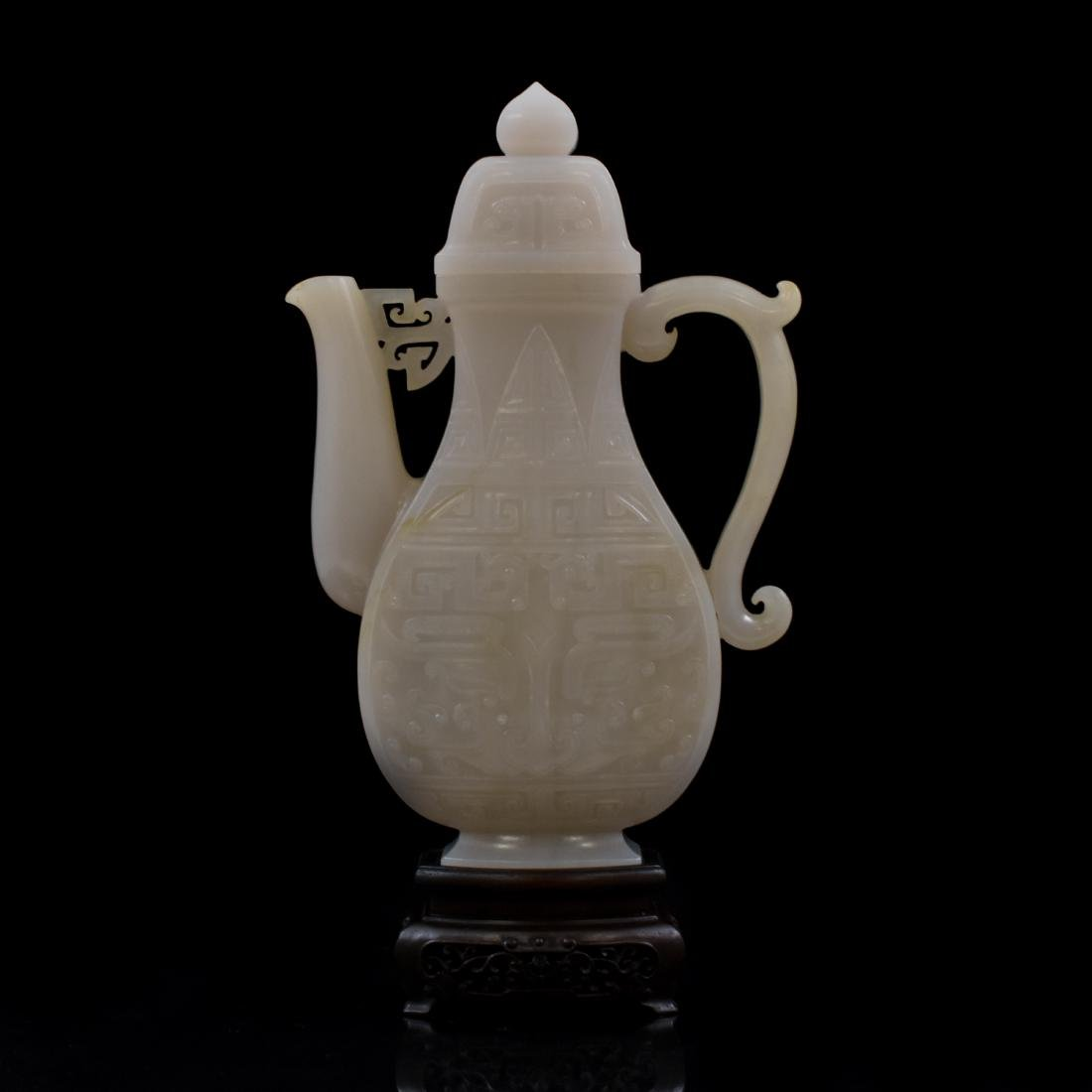 QING CHINESE WHITE JADE EWER ON STAND