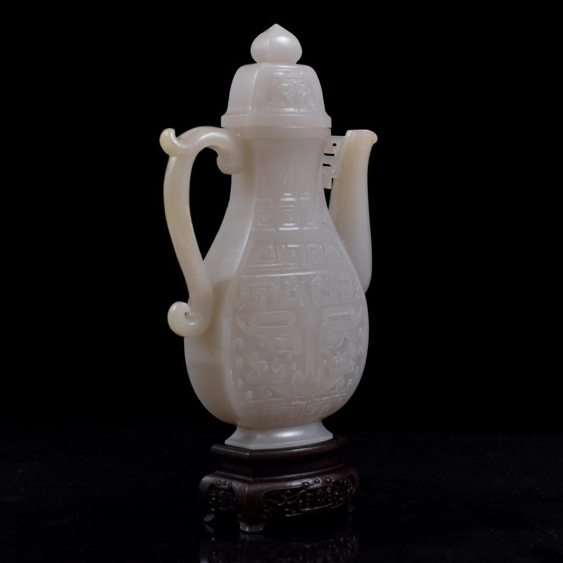 QING CHINESE WHITE JADE EWER ON STAND - 4