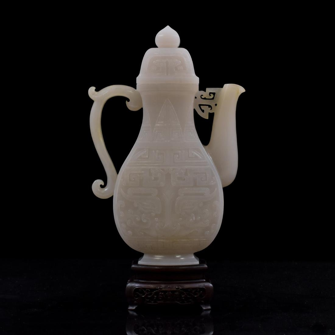 QING CHINESE WHITE JADE EWER ON STAND - 5