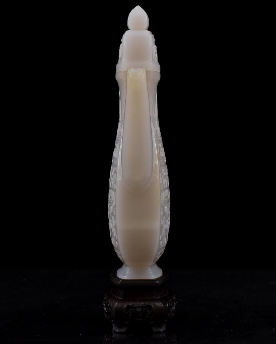 QING CHINESE WHITE JADE EWER ON STAND - 6