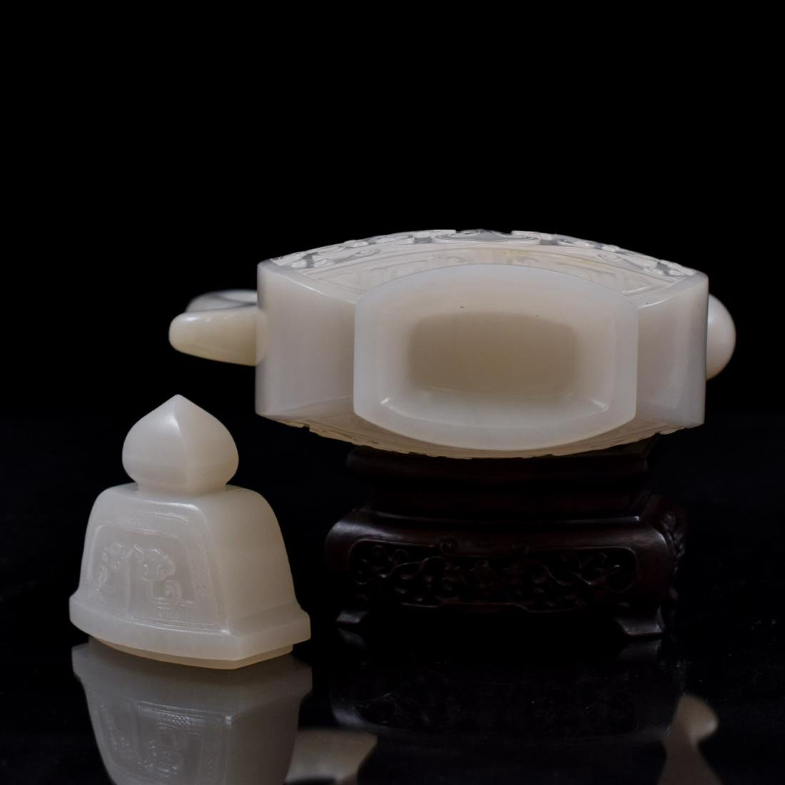 QING CHINESE WHITE JADE EWER ON STAND - 7