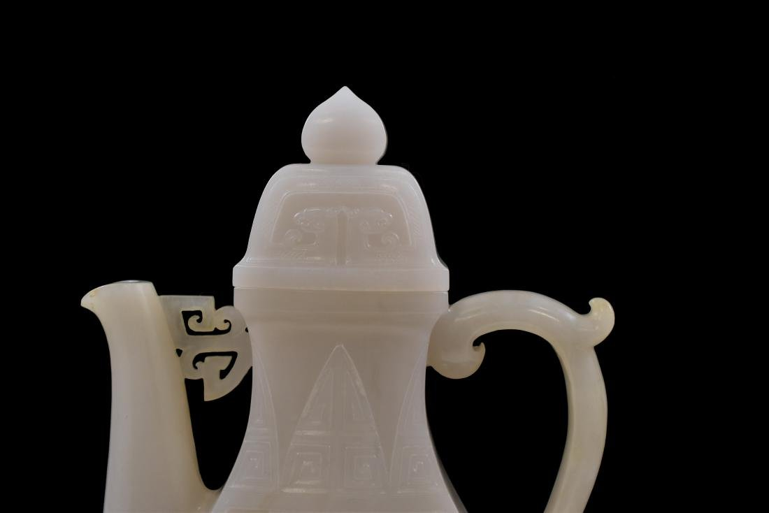 QING CHINESE WHITE JADE EWER ON STAND - 8