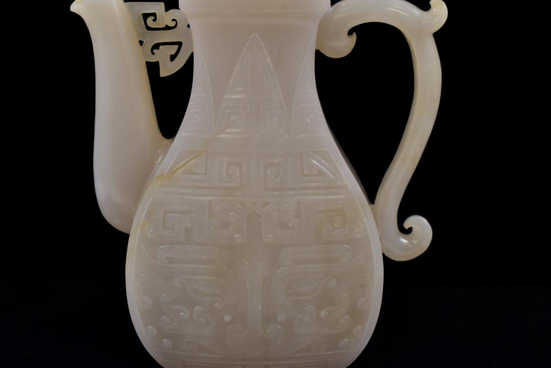QING CHINESE WHITE JADE EWER ON STAND - 9