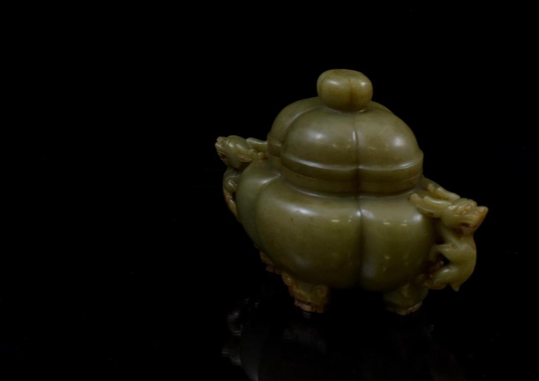 19TH C QUADRA-LOBED YELLOW JADE COVERED CENSER - 4