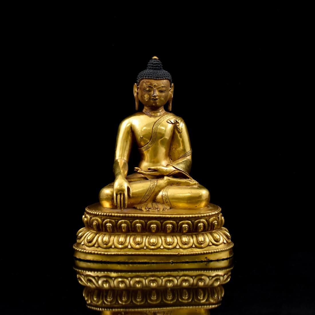 QING CHINESE GILT BRONZE SHAKYAMUNI BUDDHA