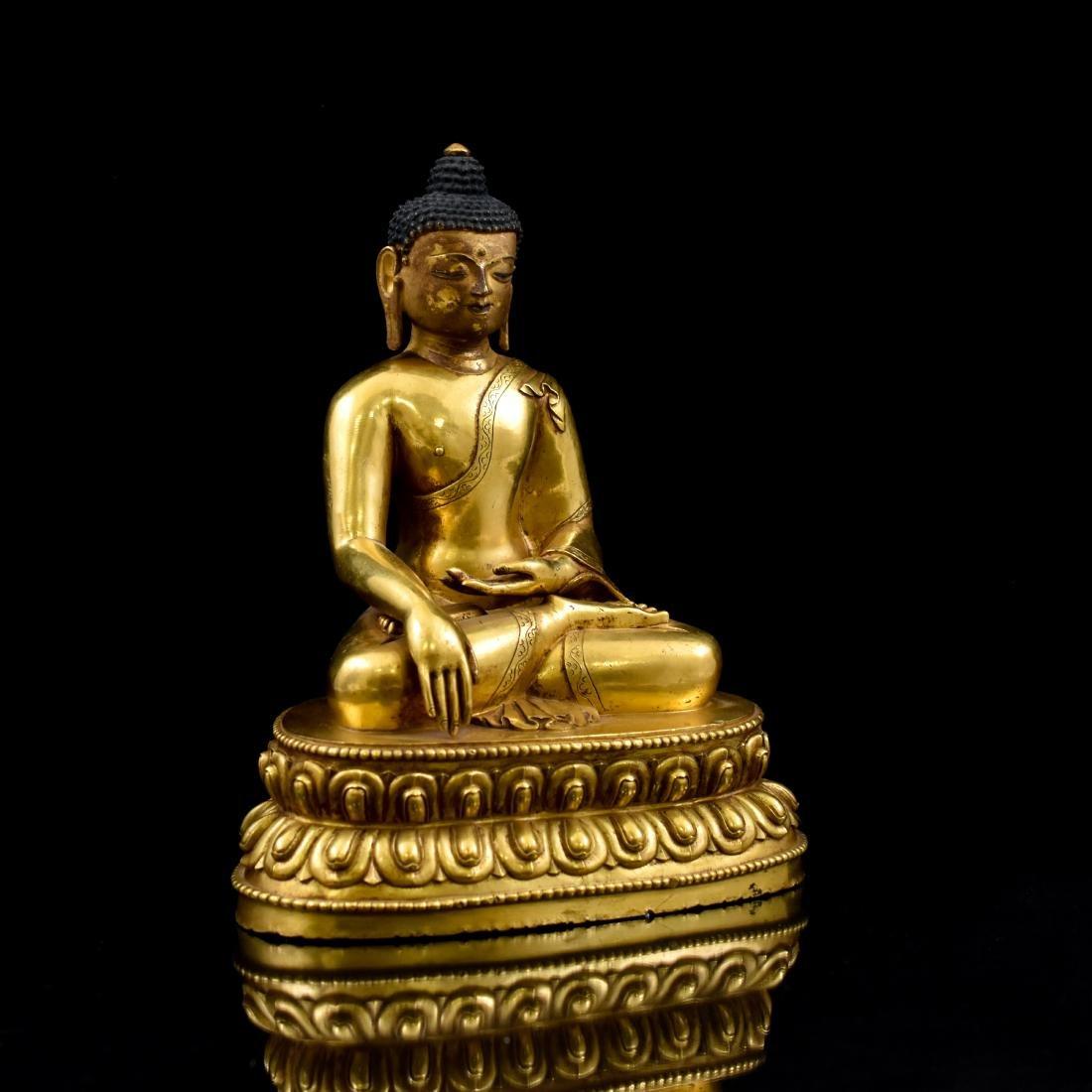 QING CHINESE GILT BRONZE SHAKYAMUNI BUDDHA - 2