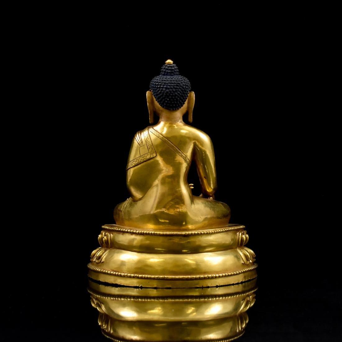 QING CHINESE GILT BRONZE SHAKYAMUNI BUDDHA - 3