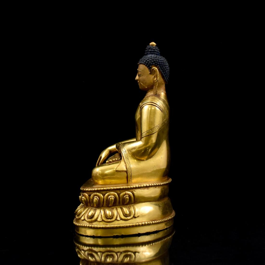 QING CHINESE GILT BRONZE SHAKYAMUNI BUDDHA - 4