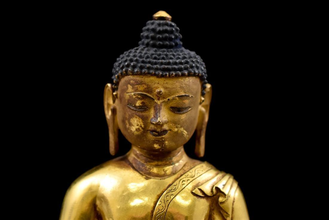 QING CHINESE GILT BRONZE SHAKYAMUNI BUDDHA - 5