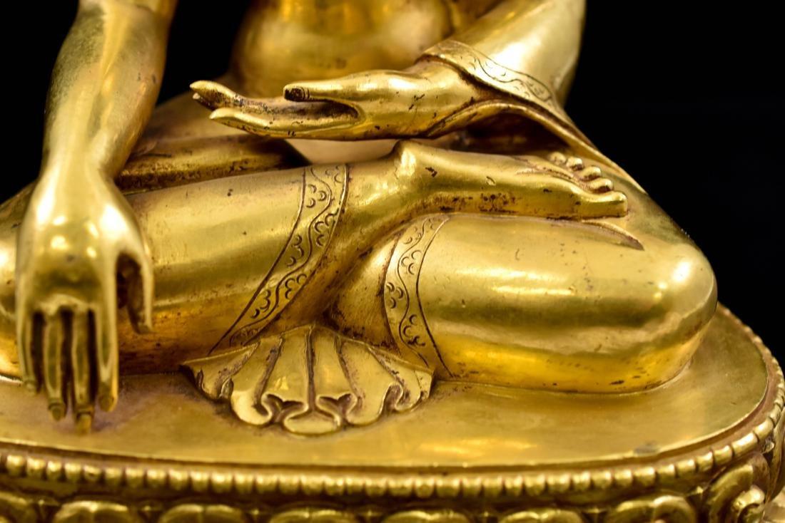 QING CHINESE GILT BRONZE SHAKYAMUNI BUDDHA - 6