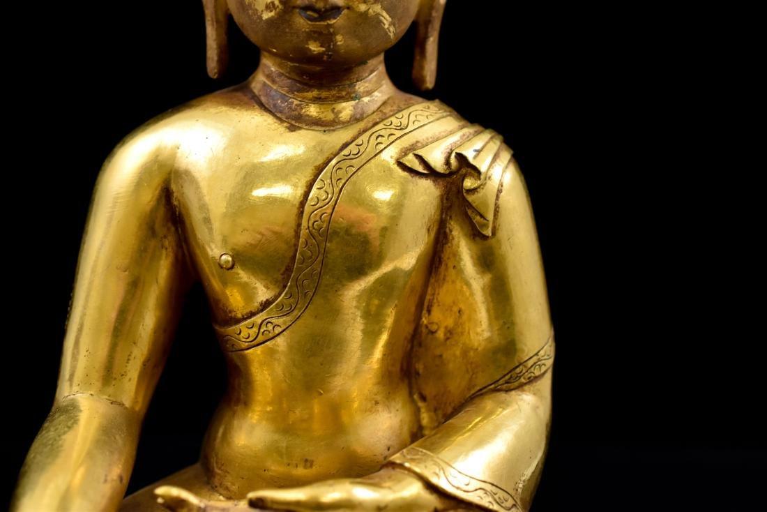 QING CHINESE GILT BRONZE SHAKYAMUNI BUDDHA - 7