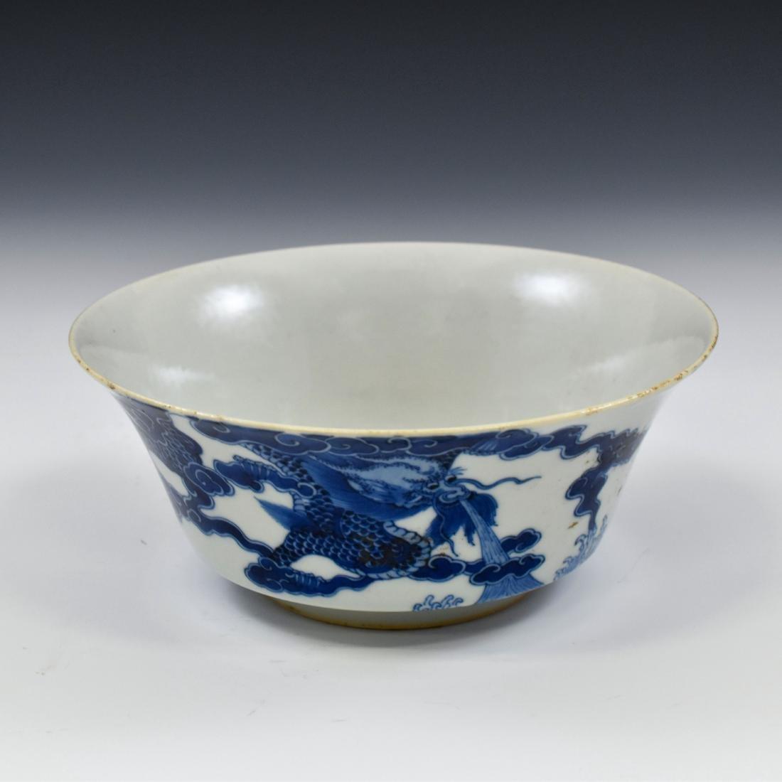 KANGXI BLUE & WHITE DRAGON BOWL - 2