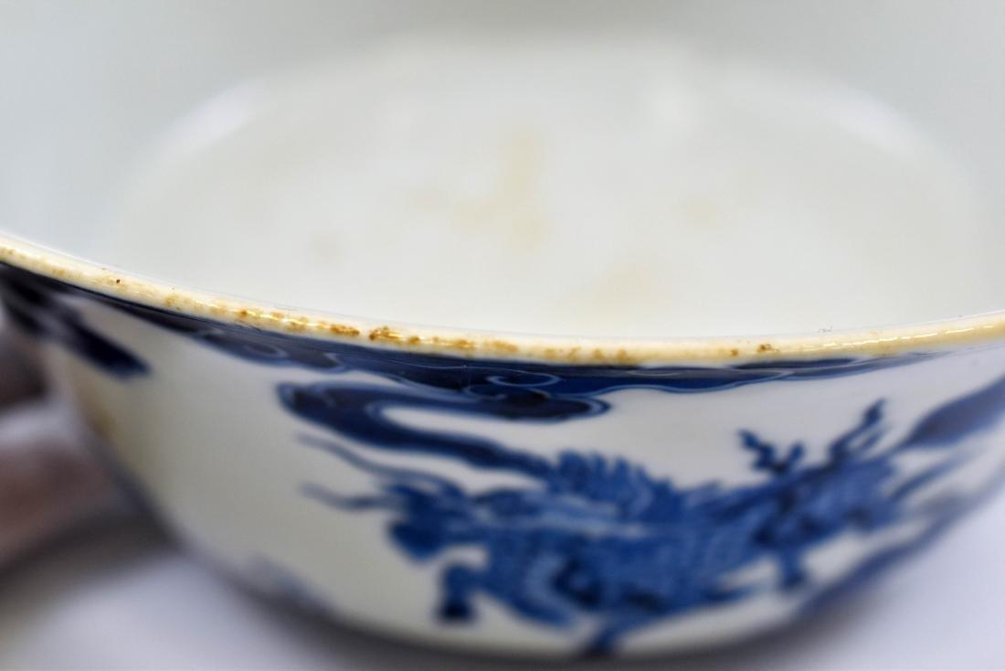 KANGXI BLUE & WHITE DRAGON BOWL - 9