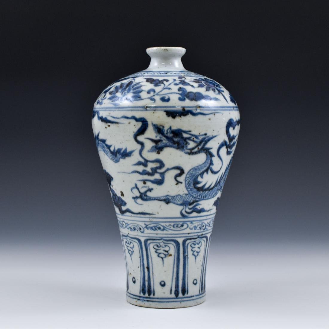 YUAN CHINESE BLUE & WHITE DRAGON MEIPING VASE