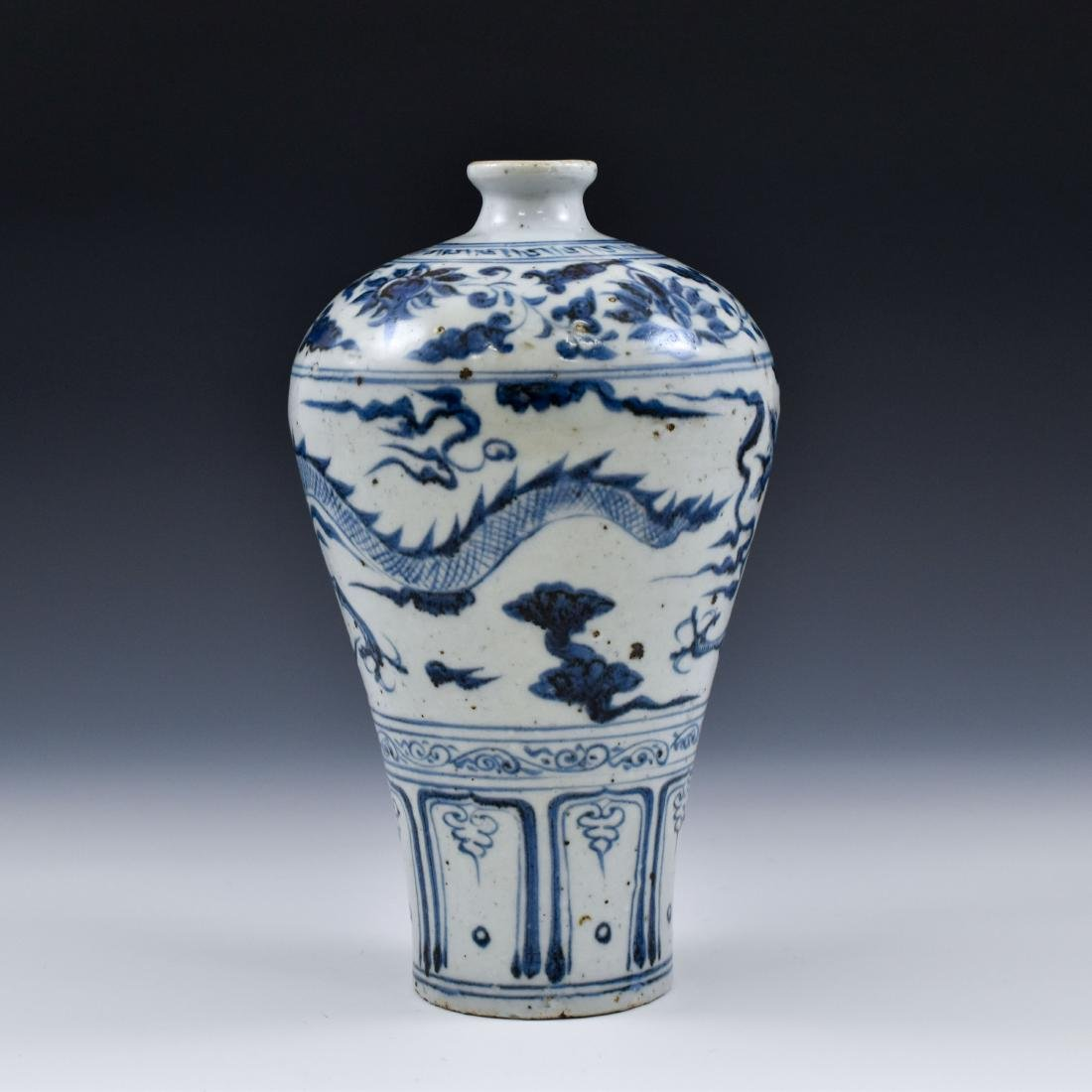 YUAN CHINESE BLUE & WHITE DRAGON MEIPING VASE - 2