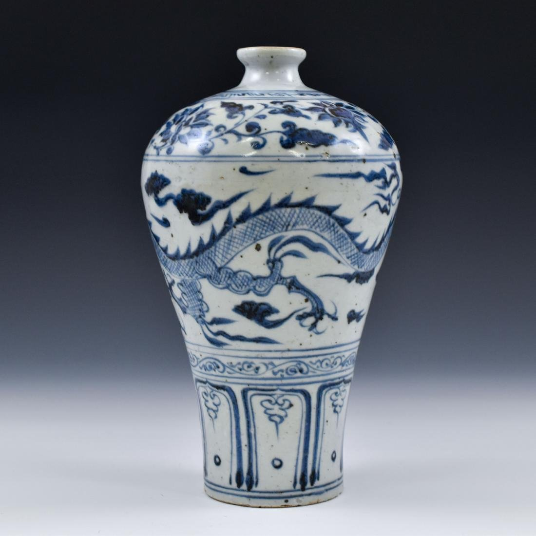 YUAN CHINESE BLUE & WHITE DRAGON MEIPING VASE - 3
