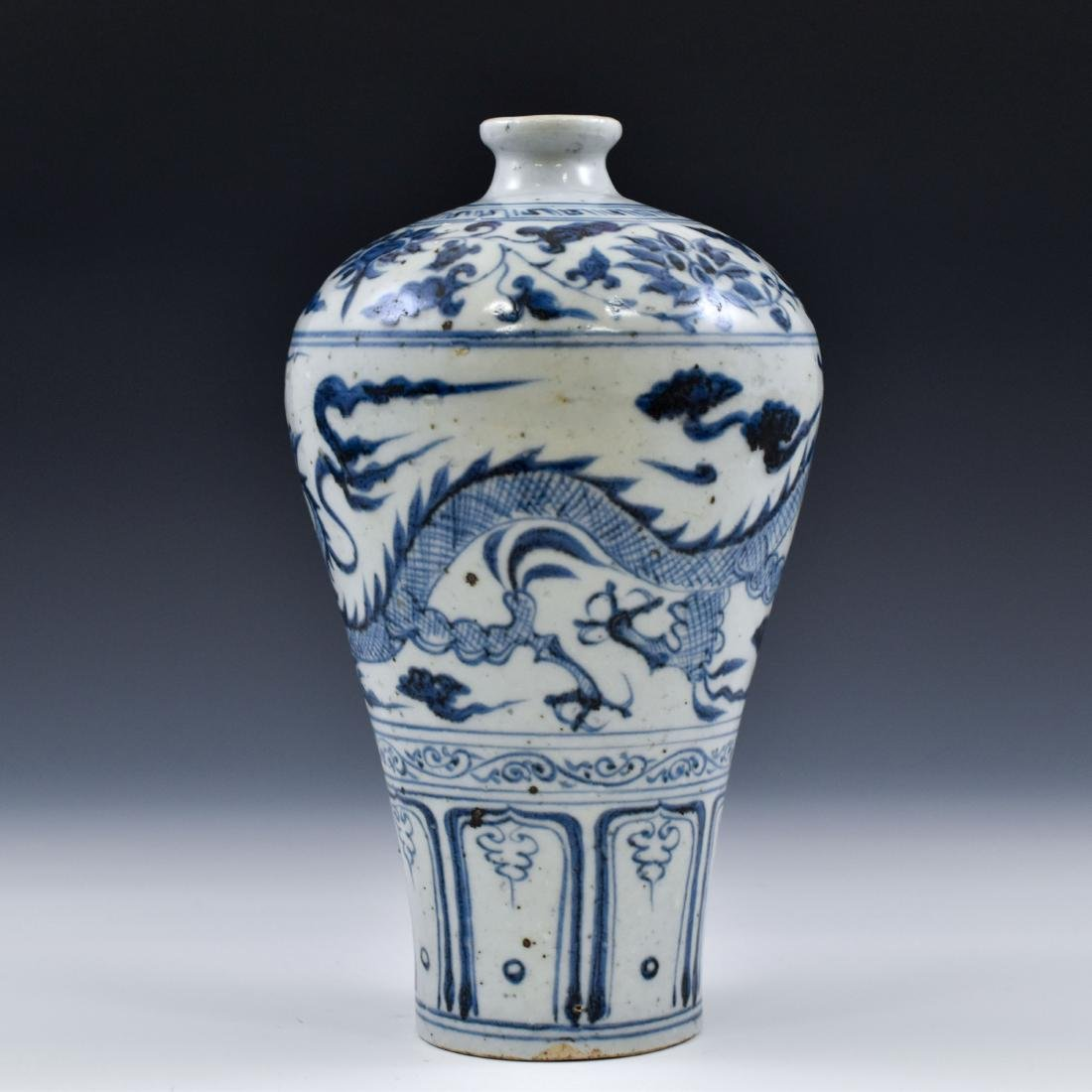 YUAN CHINESE BLUE & WHITE DRAGON MEIPING VASE - 4