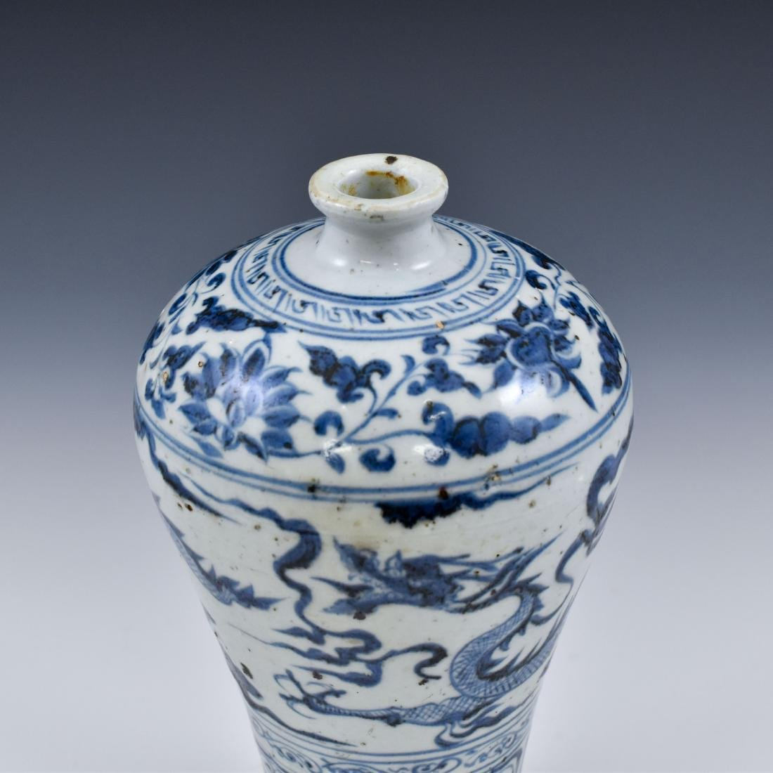 YUAN CHINESE BLUE & WHITE DRAGON MEIPING VASE - 8