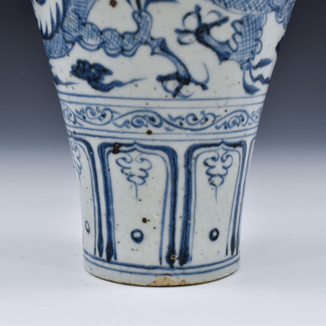 YUAN CHINESE BLUE & WHITE DRAGON MEIPING VASE - 9