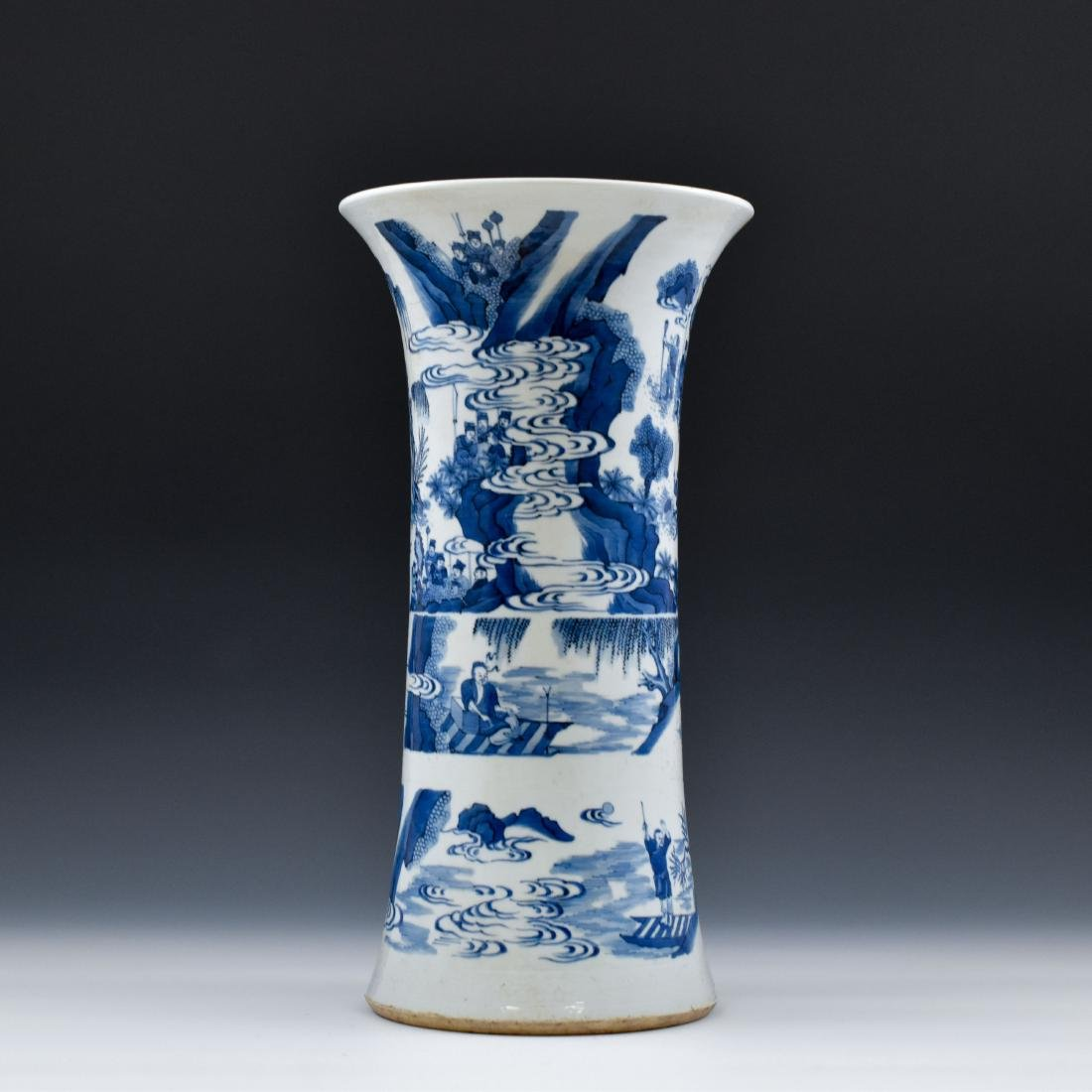 BLUE AND WHITE GU PORCELAIN VASE - 2