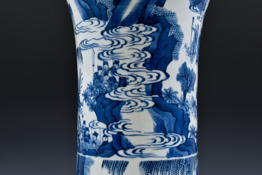 BLUE AND WHITE GU PORCELAIN VASE - 6