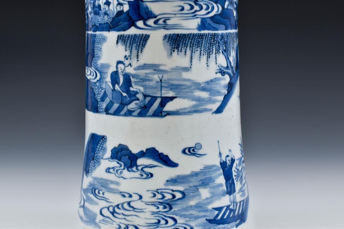 BLUE AND WHITE GU PORCELAIN VASE - 7