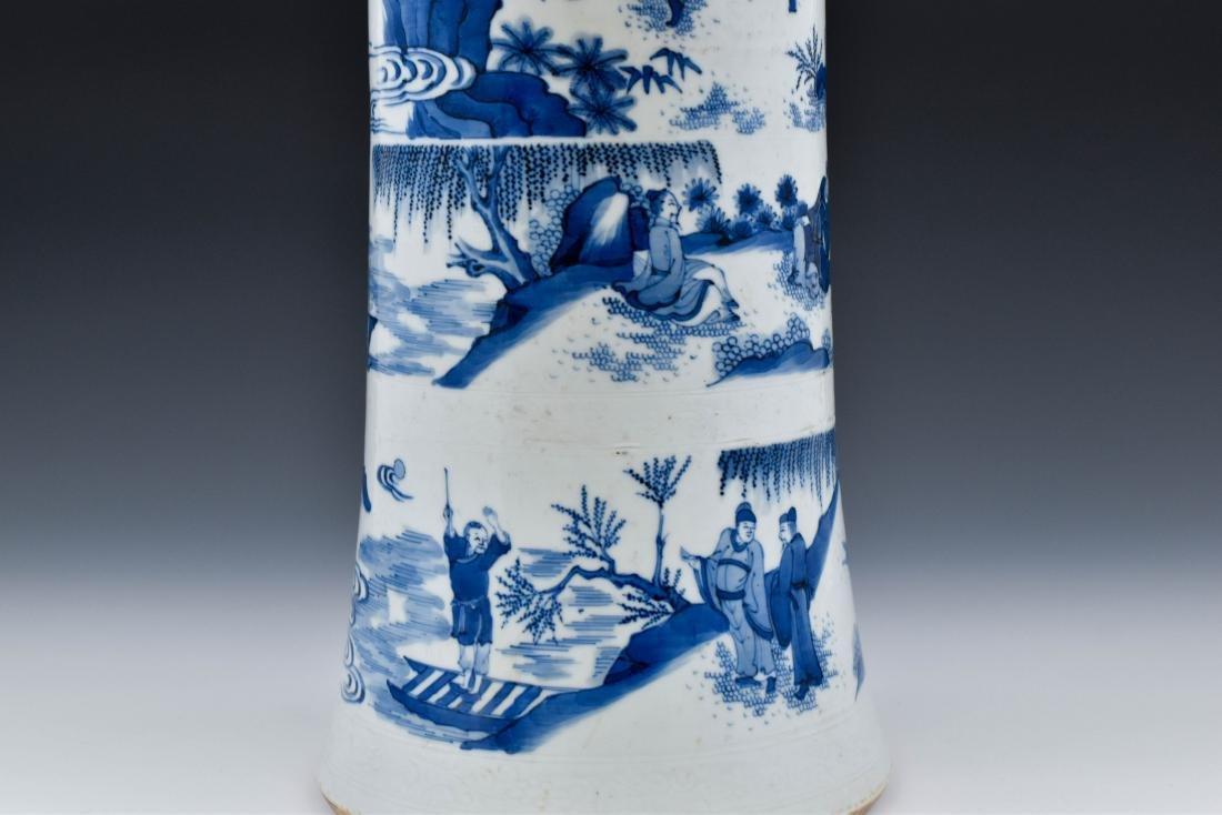 BLUE AND WHITE GU PORCELAIN VASE - 9