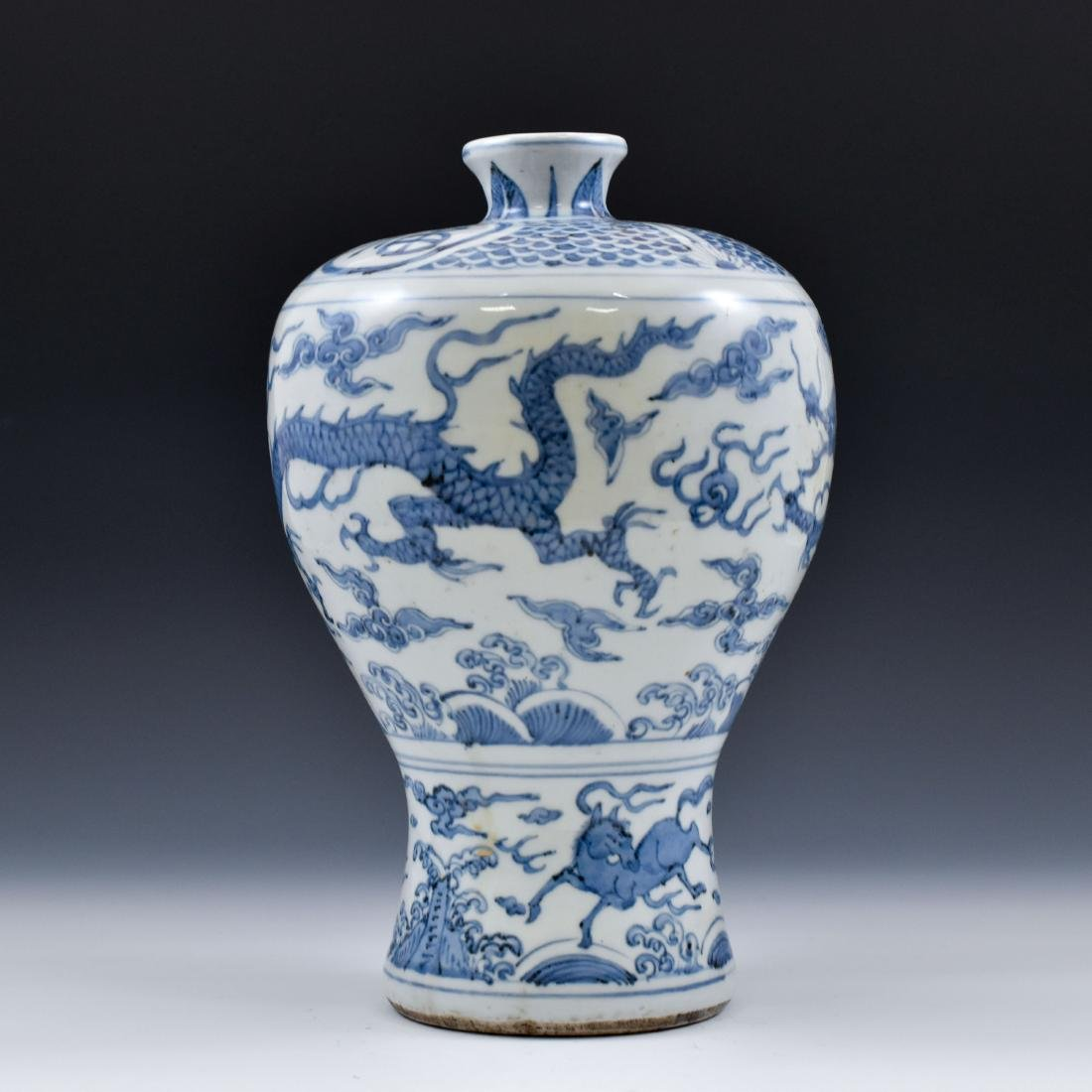 CHINESE MING BLUE & WHITE DRAGON MEIPING VASE - 2
