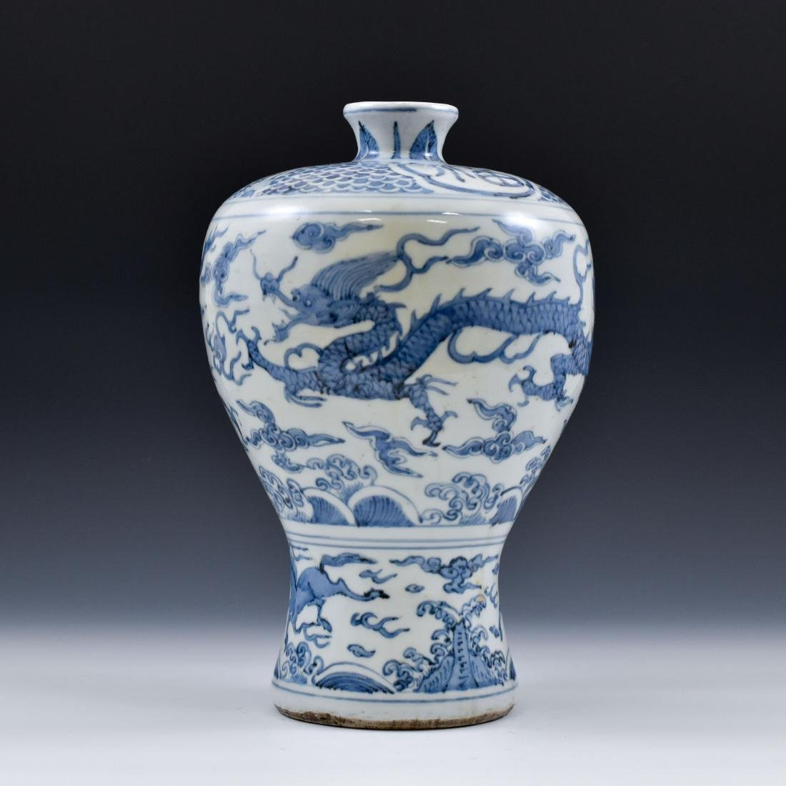 CHINESE MING BLUE & WHITE DRAGON MEIPING VASE - 3