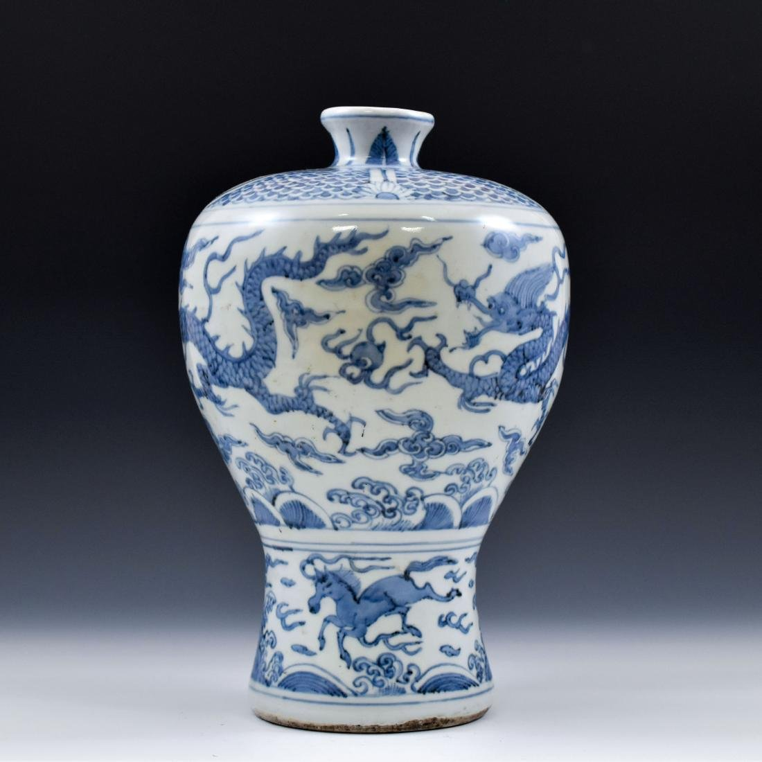 CHINESE MING BLUE & WHITE DRAGON MEIPING VASE - 4