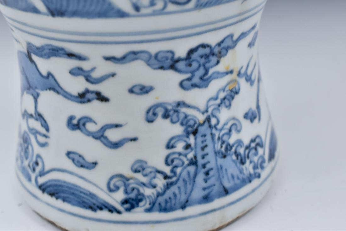 CHINESE MING BLUE & WHITE DRAGON MEIPING VASE - 7