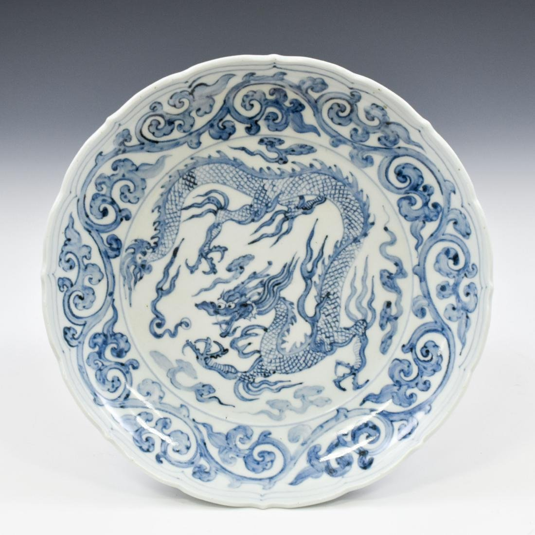 YUAN SCALLOPED RIM BLUE & WHITE DRAGON CHARGER