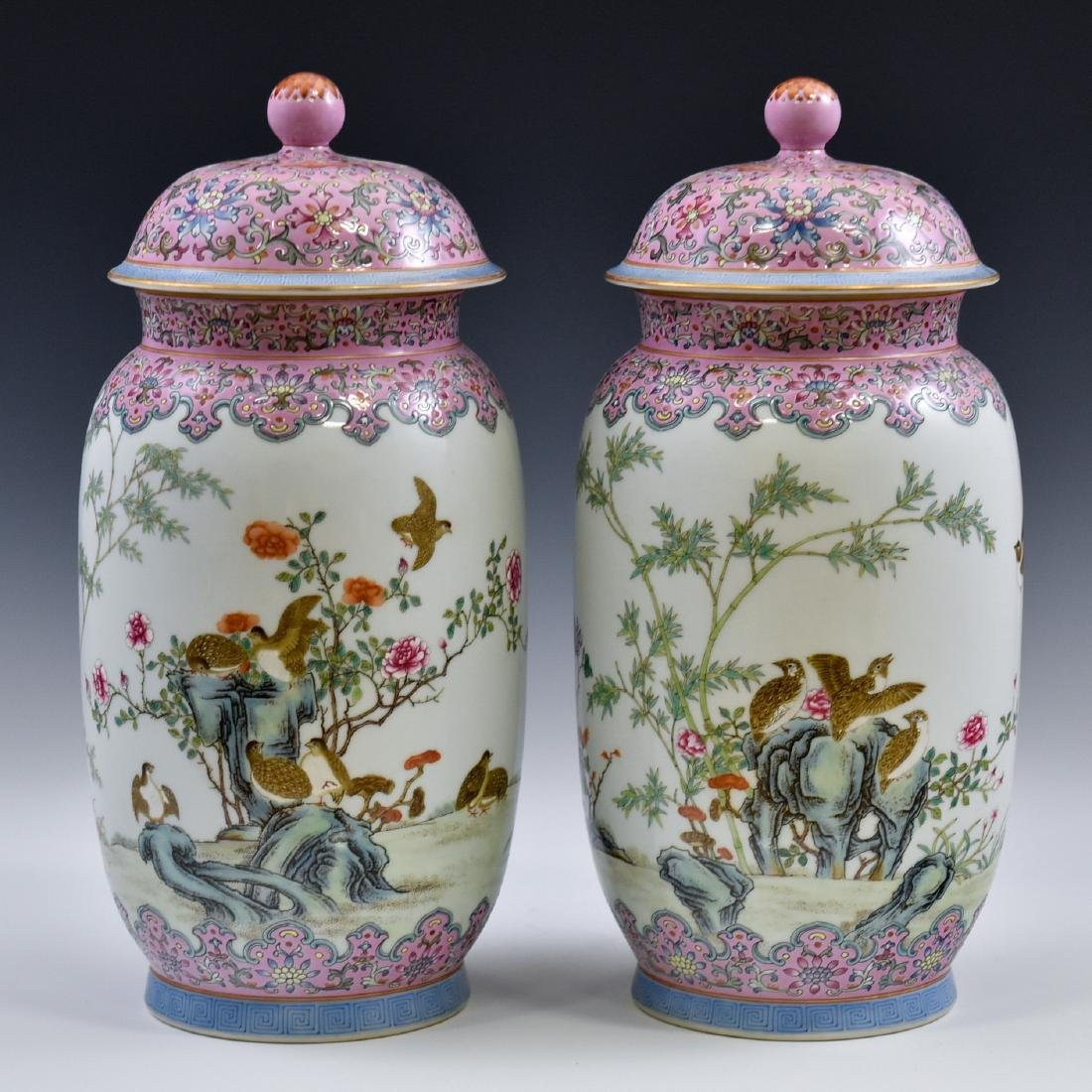 PAIR OF CHINESE FAMILLE ROSE PORCELAIN TEMPLE JARS